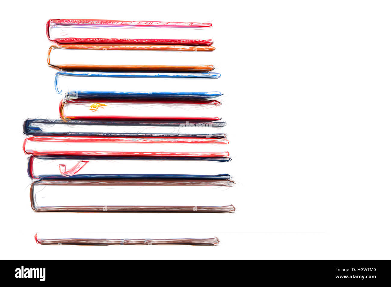 Stack of diaries 20/5000 with brushstroke on white background - Stock Image