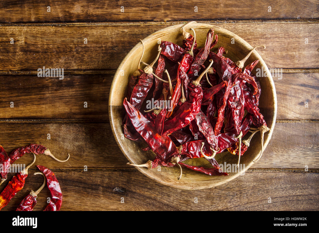 Kashmiri chillies on a wooden surface - Stock Image