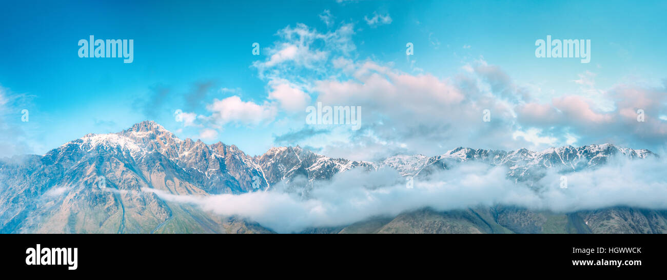Panorama Of Mountain Peaks Covered With Snow.  Clouds Over Varied Mountains Landscape In Mtskheta-Mtianeti Region, - Stock Image