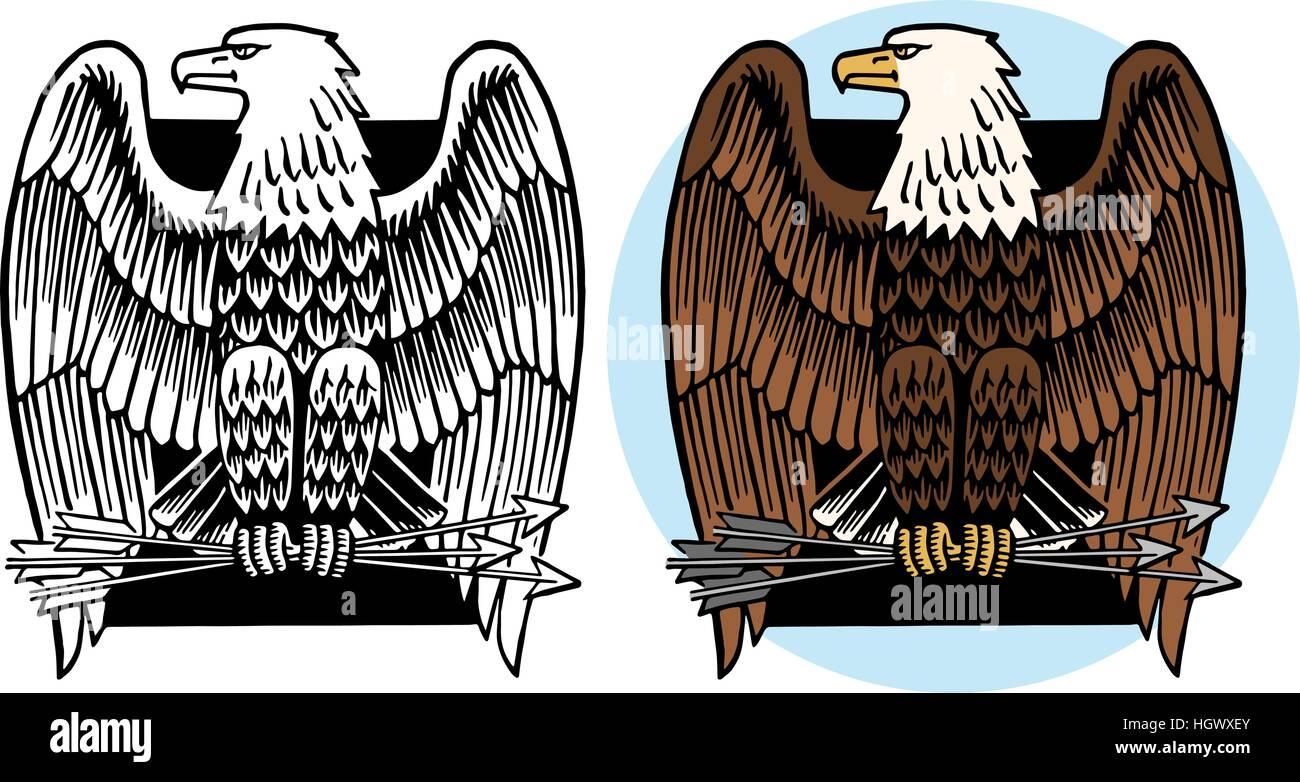 American Bald Eagle Iconic Symbol Stock Vector Art Illustration