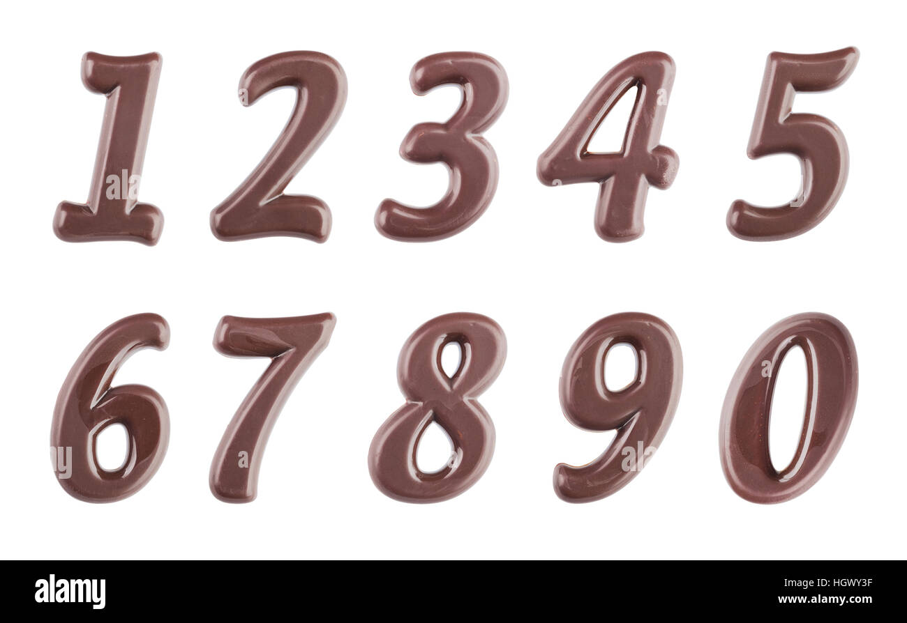 Real dark chocolate digits set isolated on a white background - Stock Image