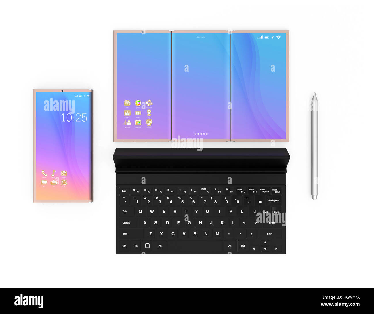Foldable smart phone, tablet PC, digital pen and detachable keyboard isolated on white background. 3D rendering - Stock Image