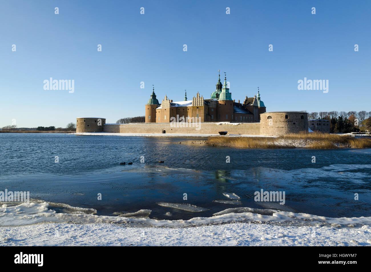 The landmark Kalmar Castle in Sweden by winter season - Stock Image