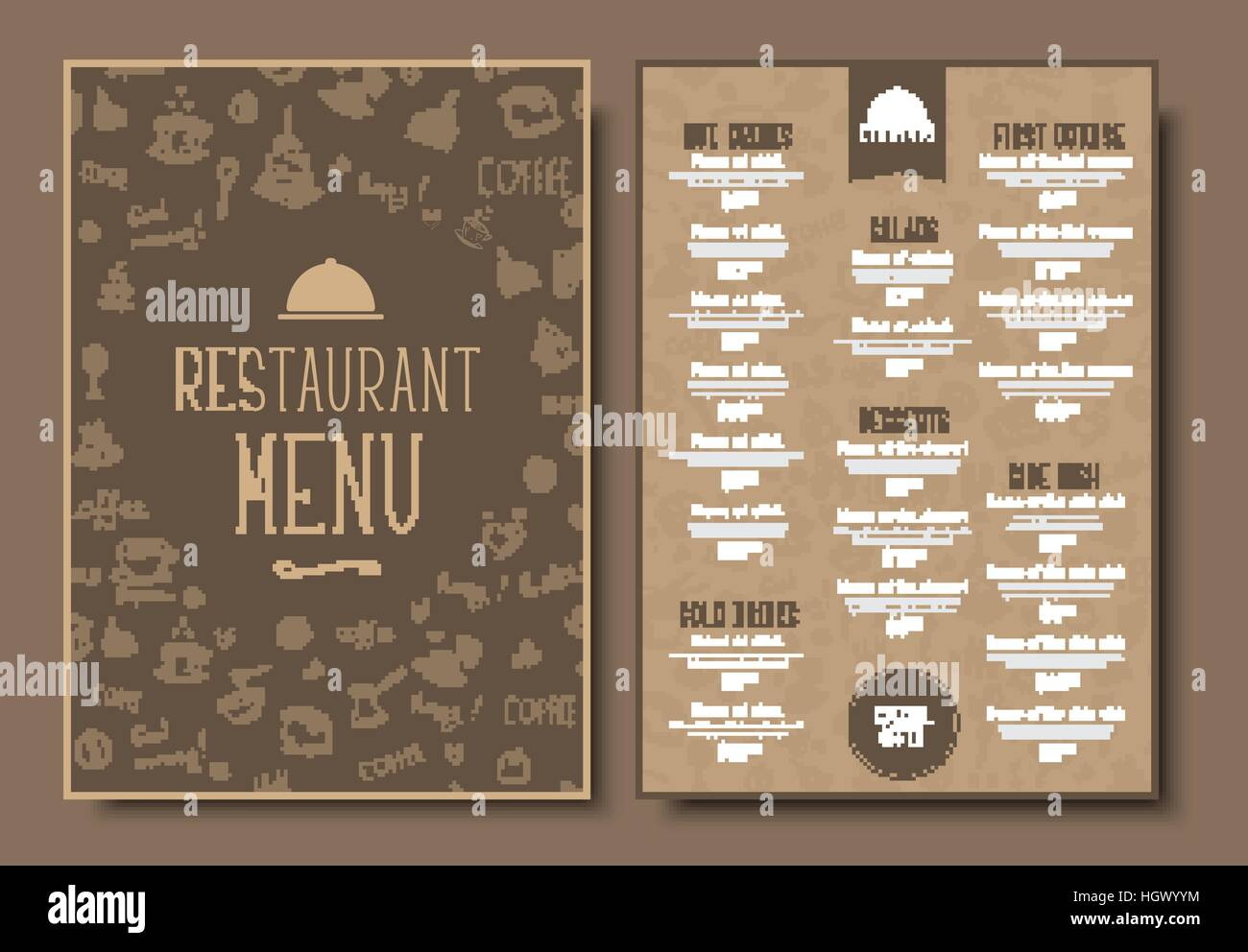 Menu Template For Cafe Or Restaurant In A Retro Style Design 2 A4