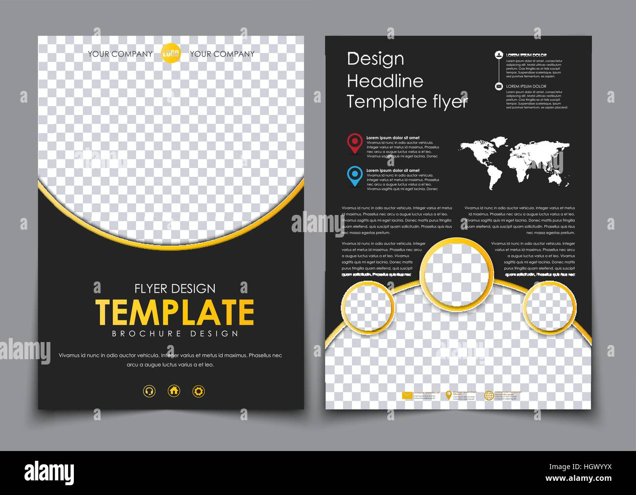 Design 2 pages of a4 black with yellow elements flyer template with design 2 pages of a4 black with yellow elements flyer template with space for photos and qr code world map and contact information vector illustra saigontimesfo