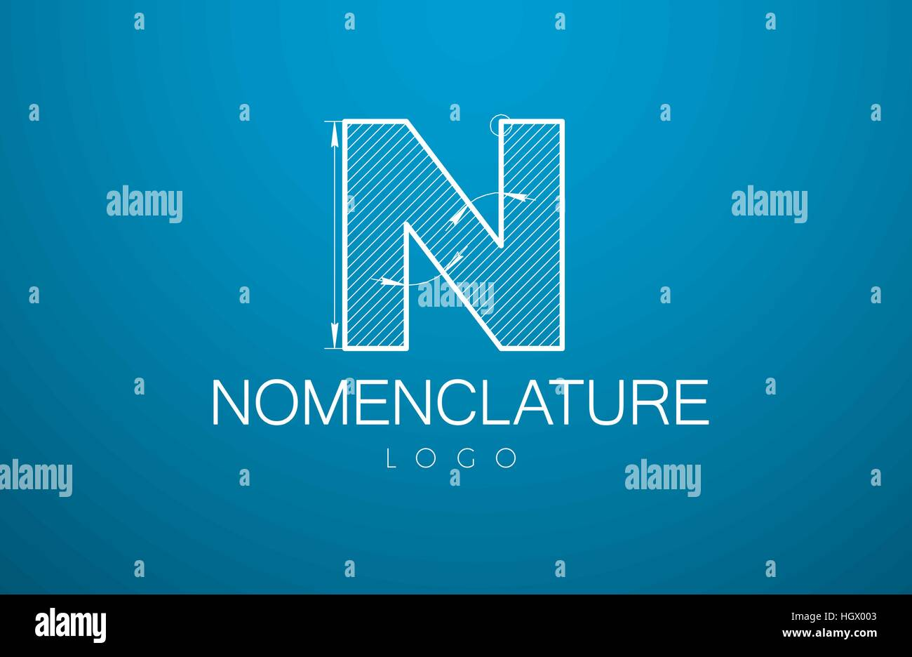 Logo Template Letter N In The Style Of A Technical Drawing Sign Design And Text Nomenclature With Dimension Lines Vector Illustration