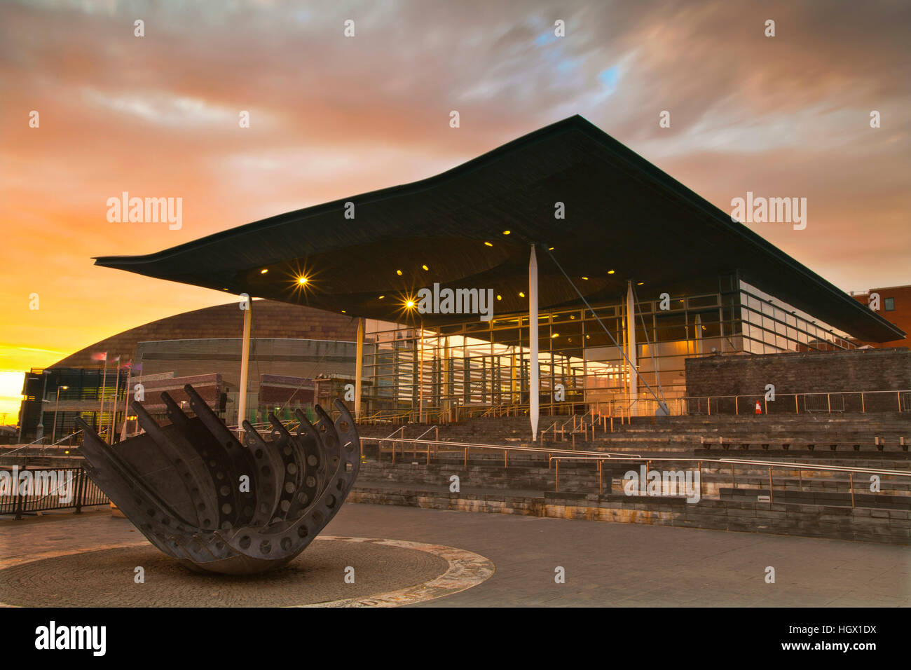 National Assembly for Wales, The Senedd, Cardiff Bay, Wales, UK - Stock Image