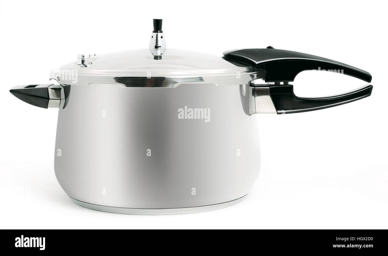 pressure cooker on a white background - Stock Image
