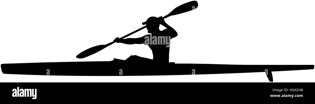 Black Silhouette Athlete Kayaker Sport Kayak With Paddle