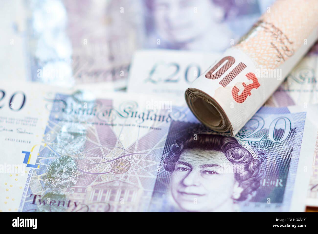 British Twenty and ten pound notes - Stock Image
