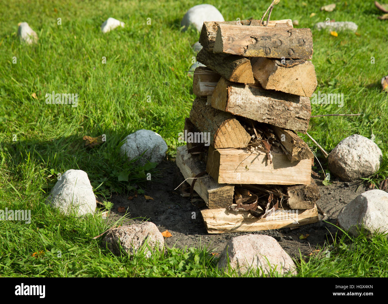 Built wood stack ready to ignite - Stock Image