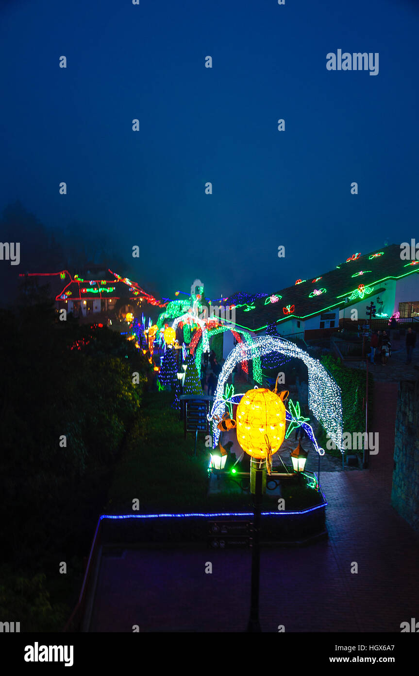 Some Christmas decoration at the top of the hill Monserrate, in Bogota. - Stock Image