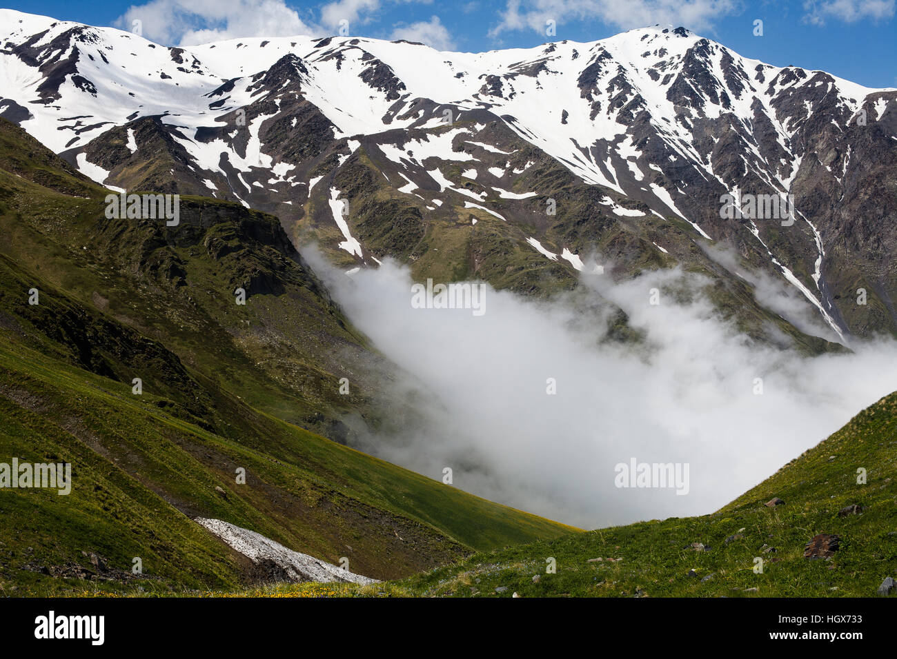 Low clouds over Caucasian mountains, North Ossetia–Alania, Russia - Stock Image