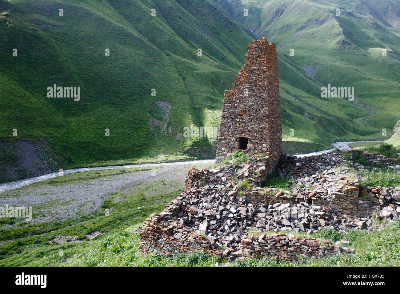 Ancient stone guard tower in North Ossetia, Russia - Stock Image
