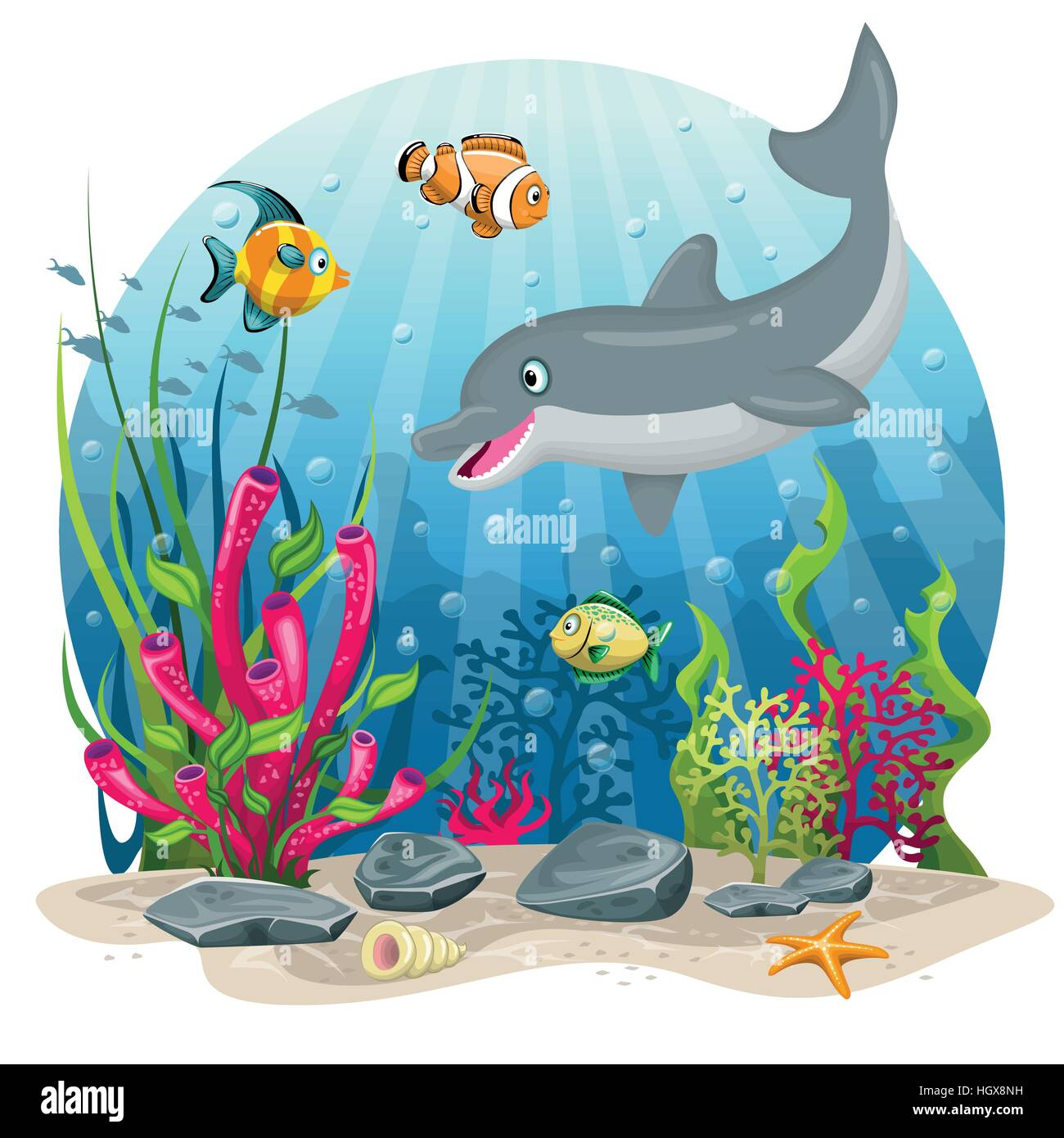 Dolphin and fish in the sea - Stock Image