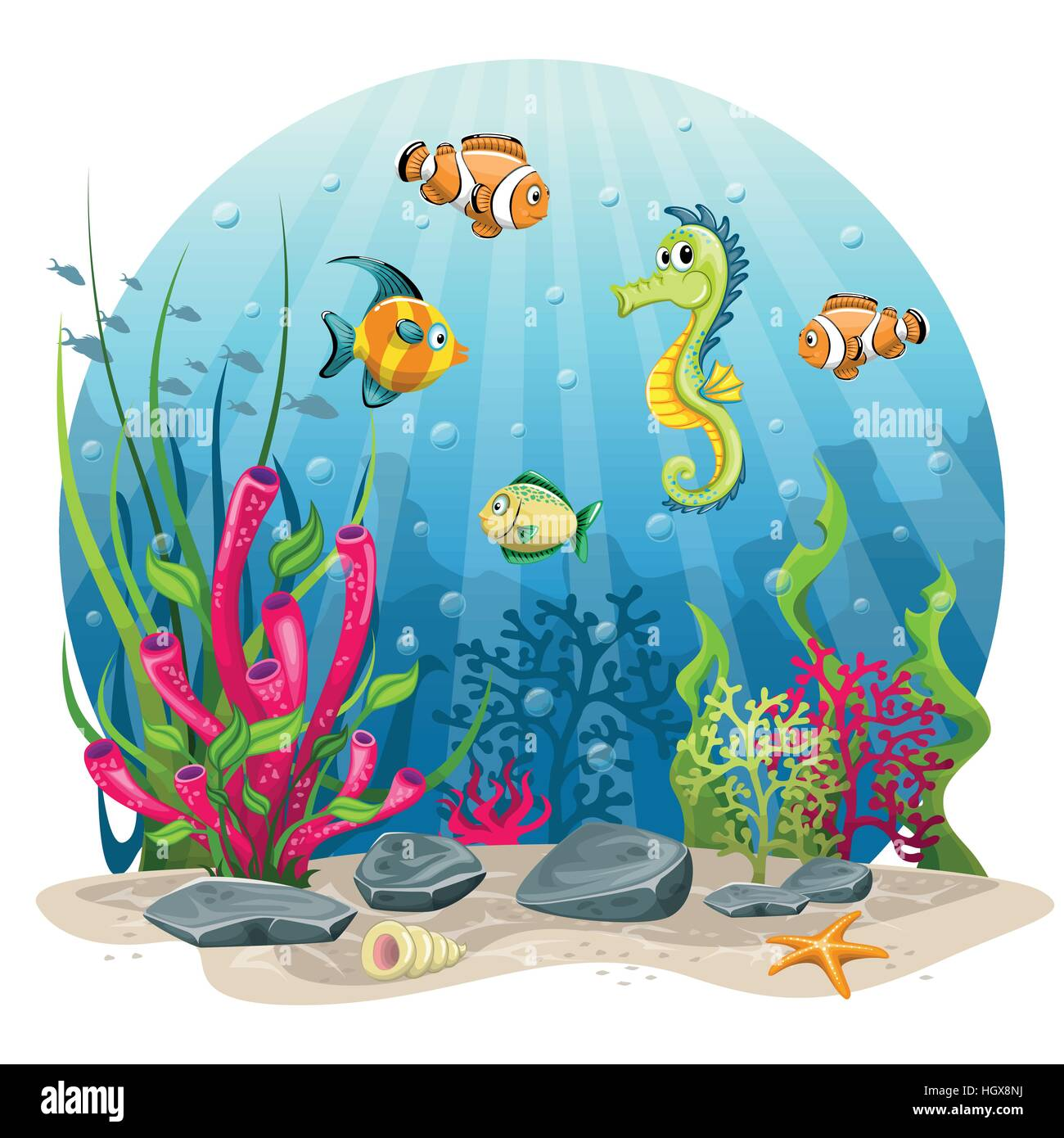 Seahorse and fish in the sea - Stock Image