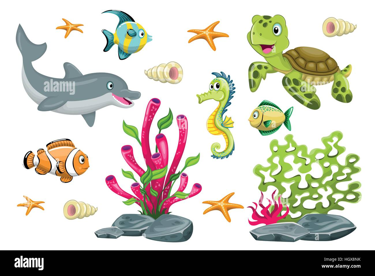 Set of cartoon marine animals - Stock Image
