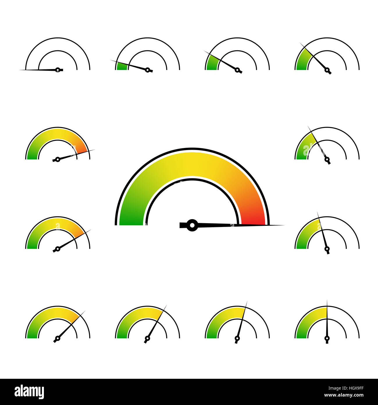 meter signs infographic gauge element from green to red illustration - Stock Image