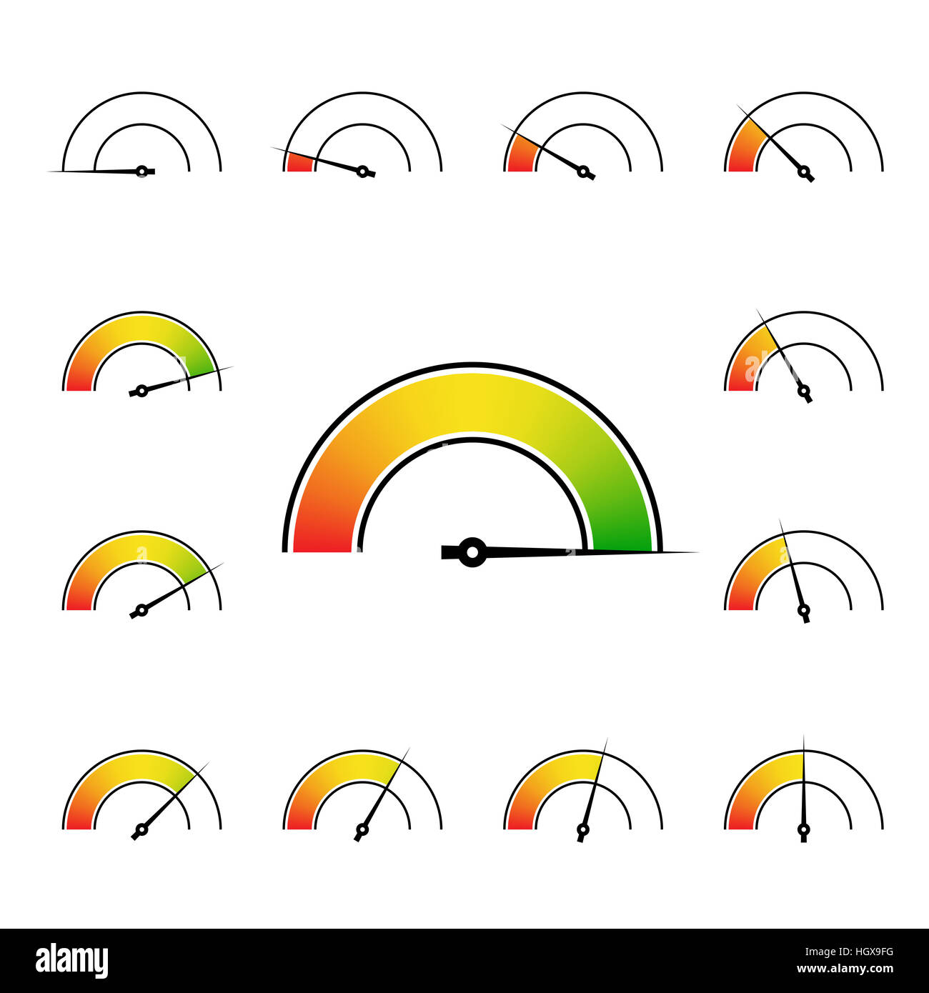 meter signs infographic gauge element from red to green illustration - Stock Image