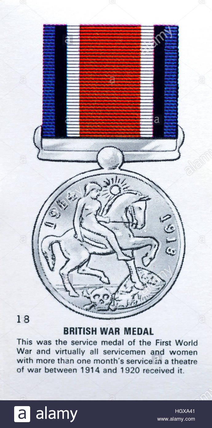 British War Medal, First world war medal awarded to all servicemen and servicewoman who saw active service in WW1 - Stock Image