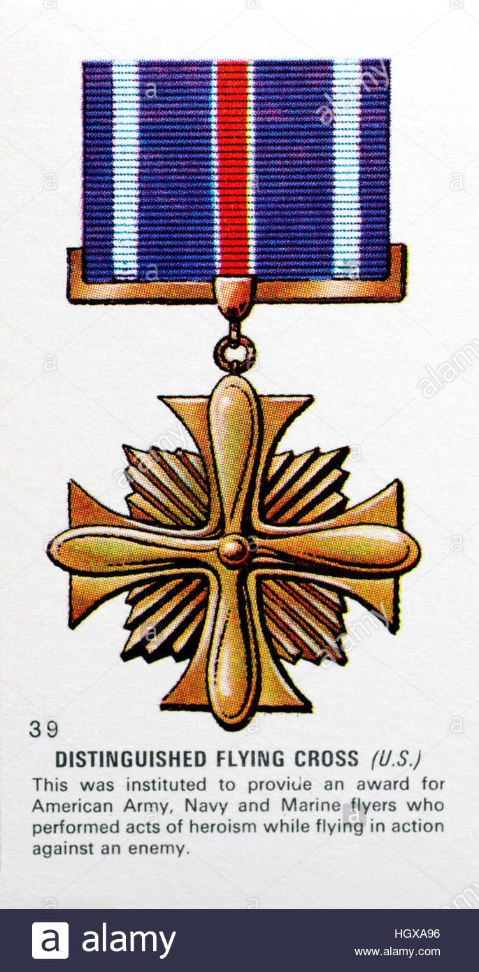 Distinguished Flying Cross, American medal awarded to Army and Navy pilots for acts of heroism against the enemy Stock Photo