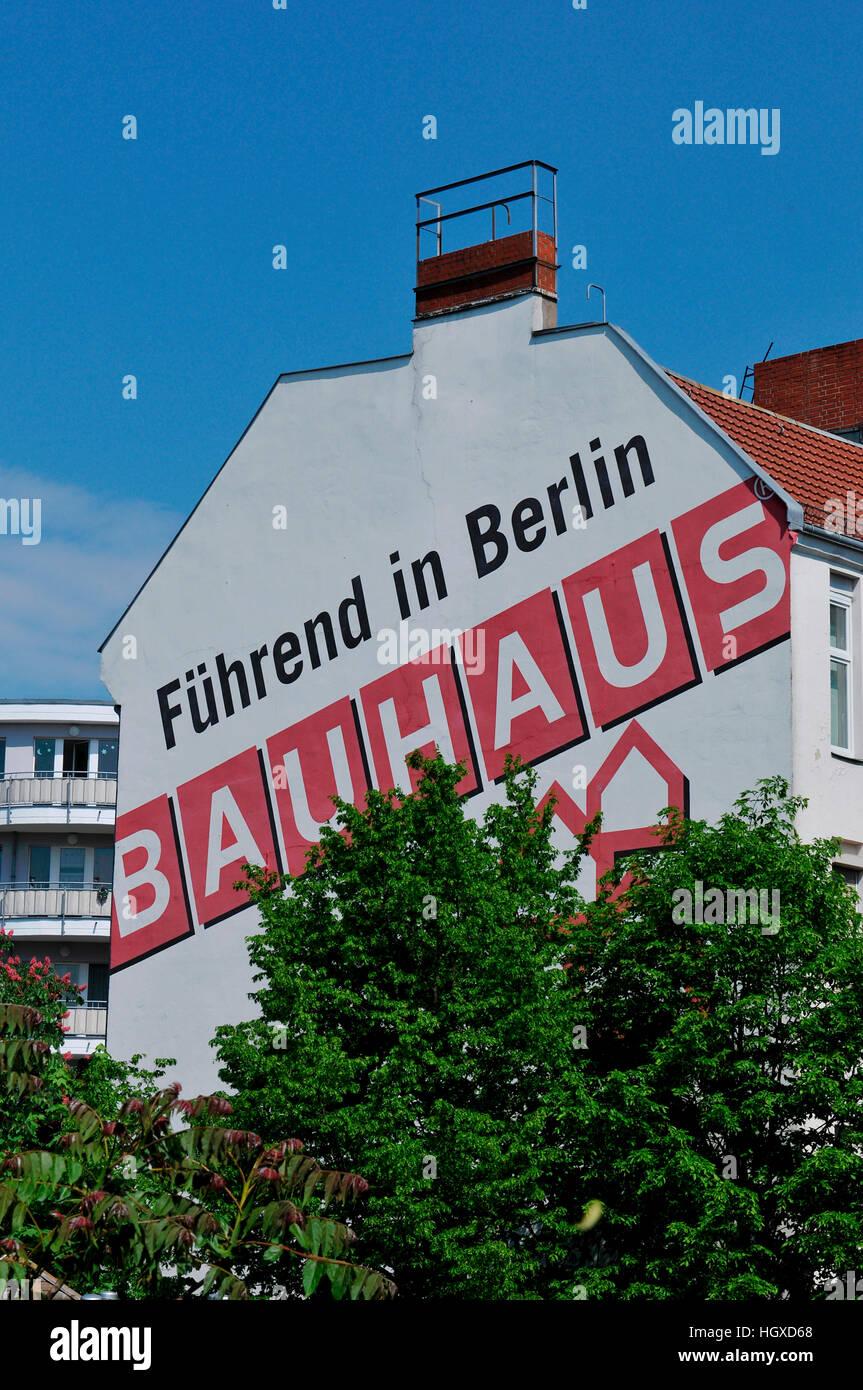 Bauhaus, Werbung, Fregestrasse, Steglitz, Berlin, Deutschland - Stock Image