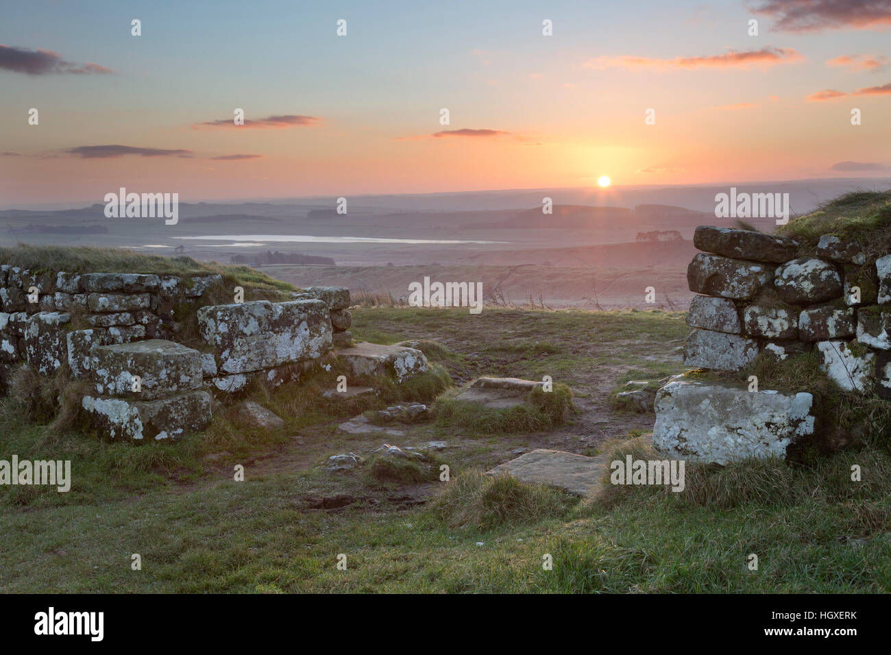 Hadrian's Wall: the south gateway of Milecastle 37, at dawn - Housesteads Crags, Northumberland Stock Photo