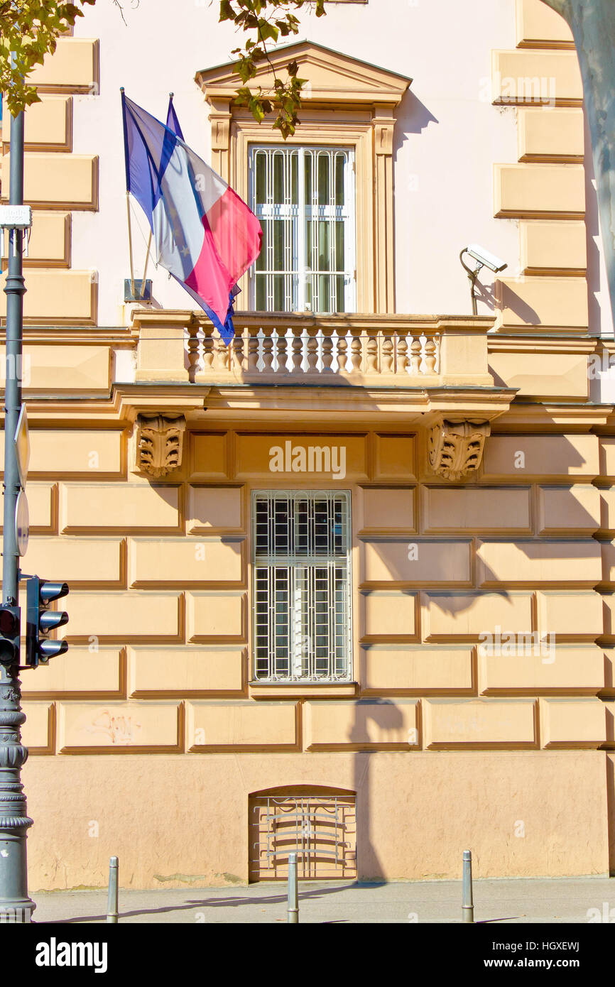 Embassy building with security cameras and windows, French embassy, Zagreb - Stock Image