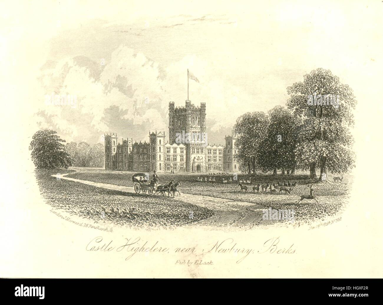 Pictorial writing paper  titled Castle Highclere, near Newbury, Berks. - Stock Image