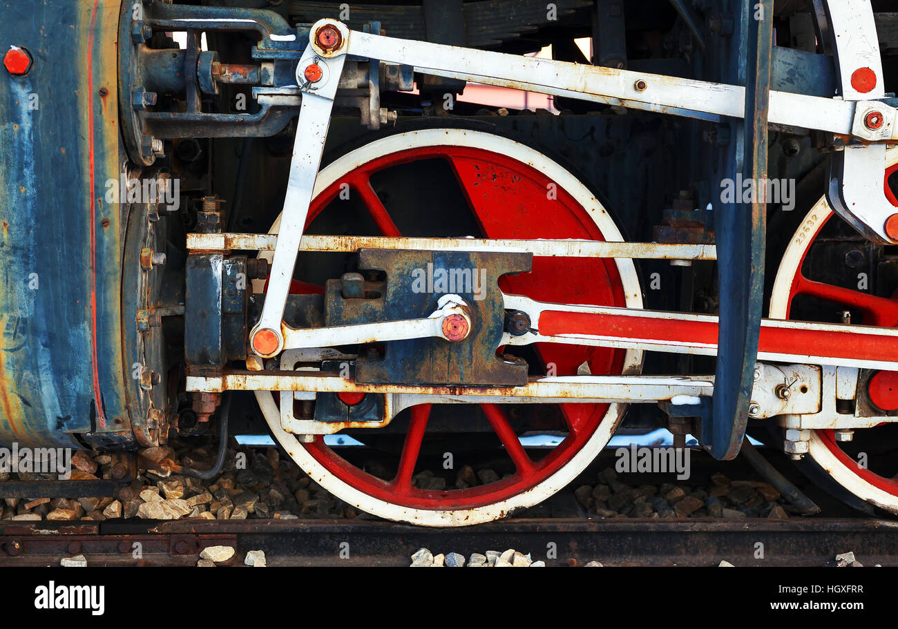 Details of an old retro steam locomotive during winter. Stock Photo