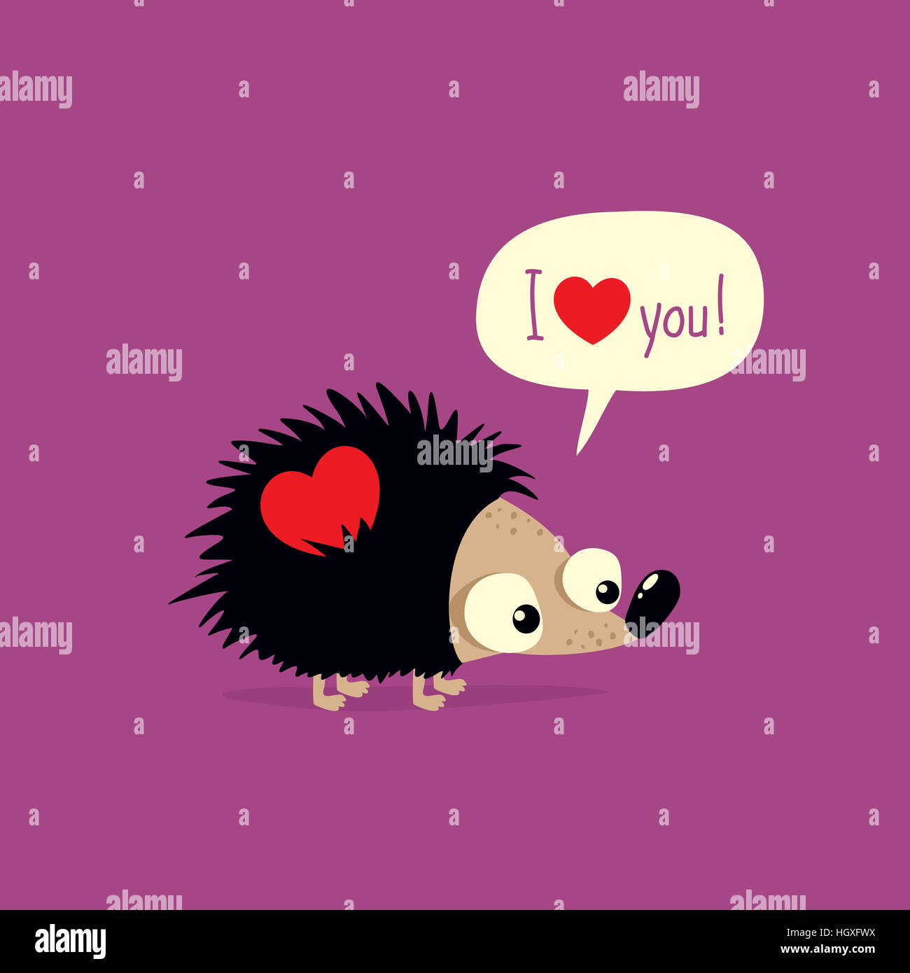 cute valentines day card with cartoon hedgehog saying i love you in speech bubble
