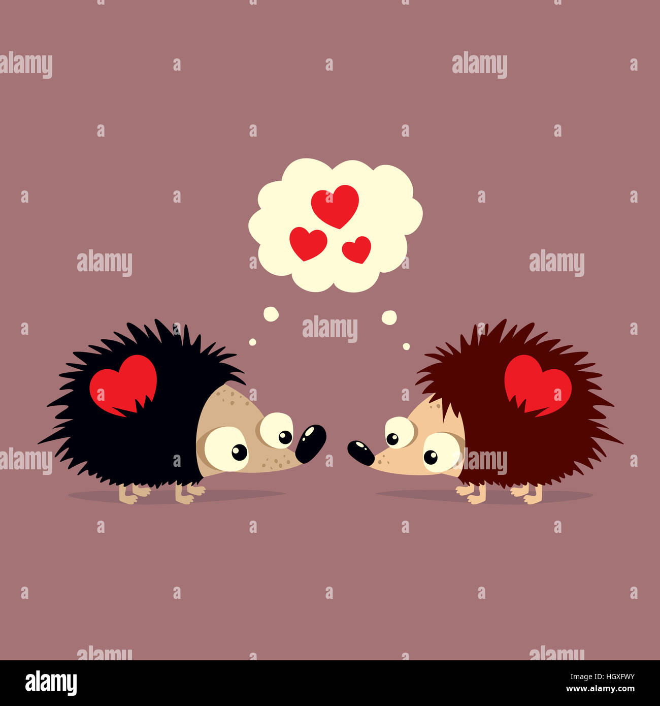 Cute Valentine's Day card with two cartoon hedgehogs falling in love with each other - Stock Image