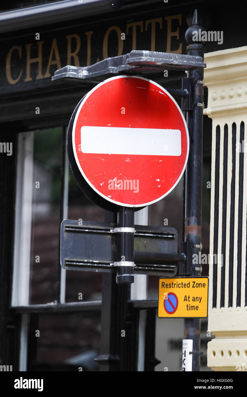 A no entry road sign is seen in England, UK, Europe. - Stock Image