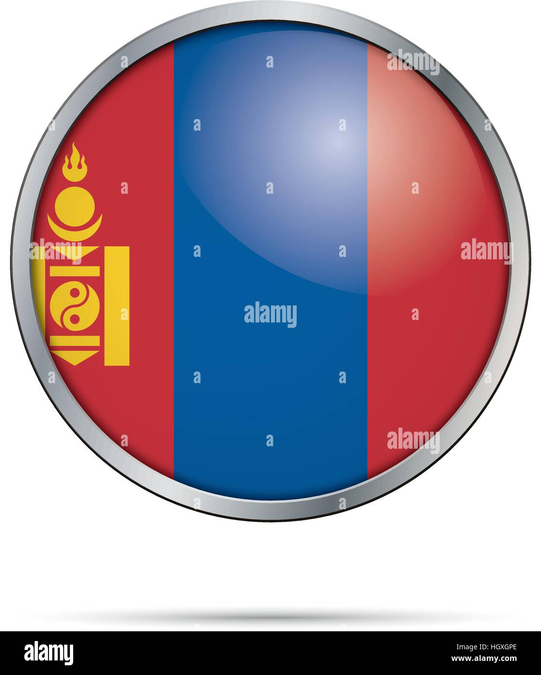 Vector Mongolian flag Button. Mongolia flag in glass button style with metal frame. - Stock Vector