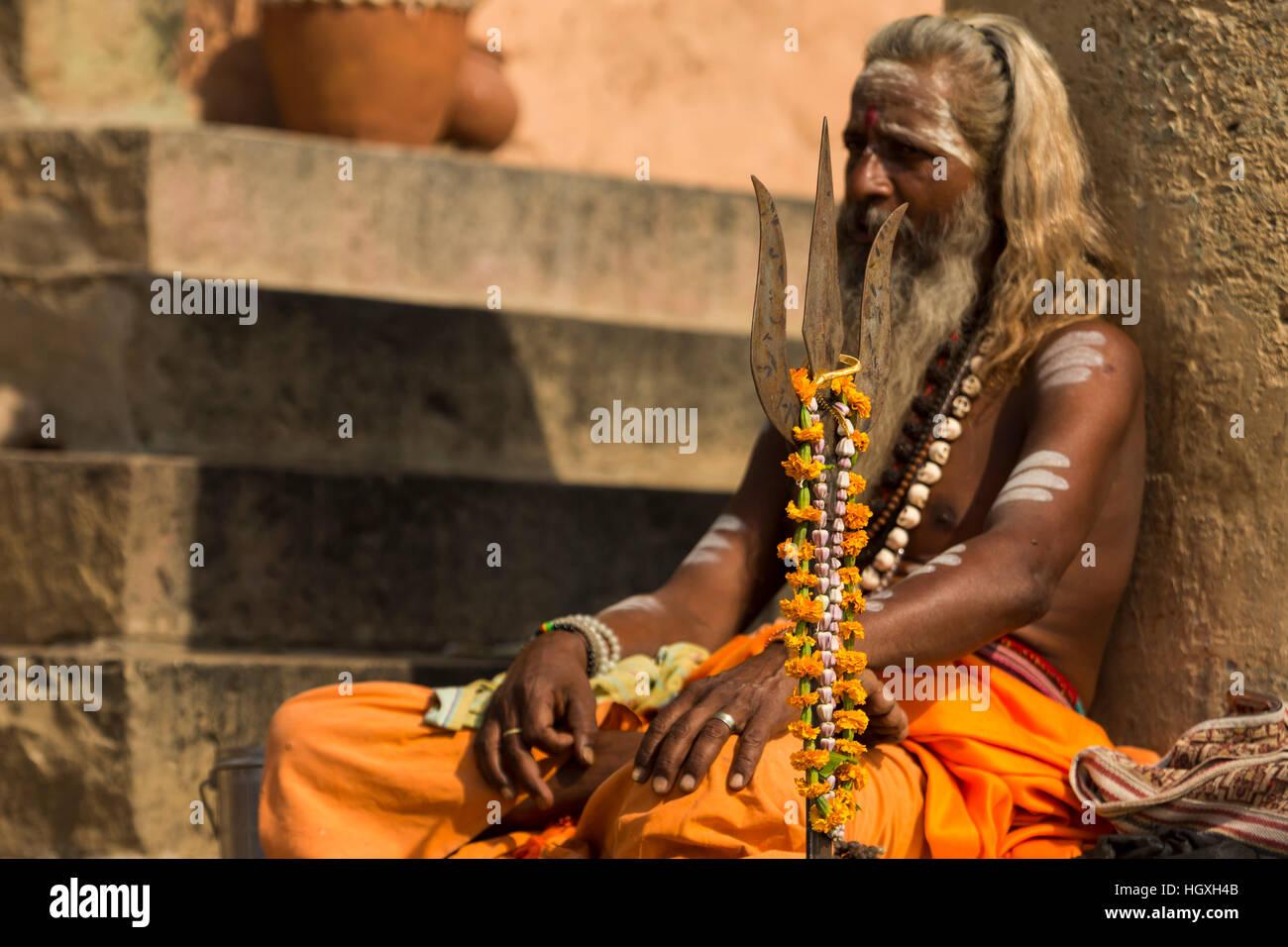 Sadhu, Varanasi, Uttar Pradesh, India - Stock Image