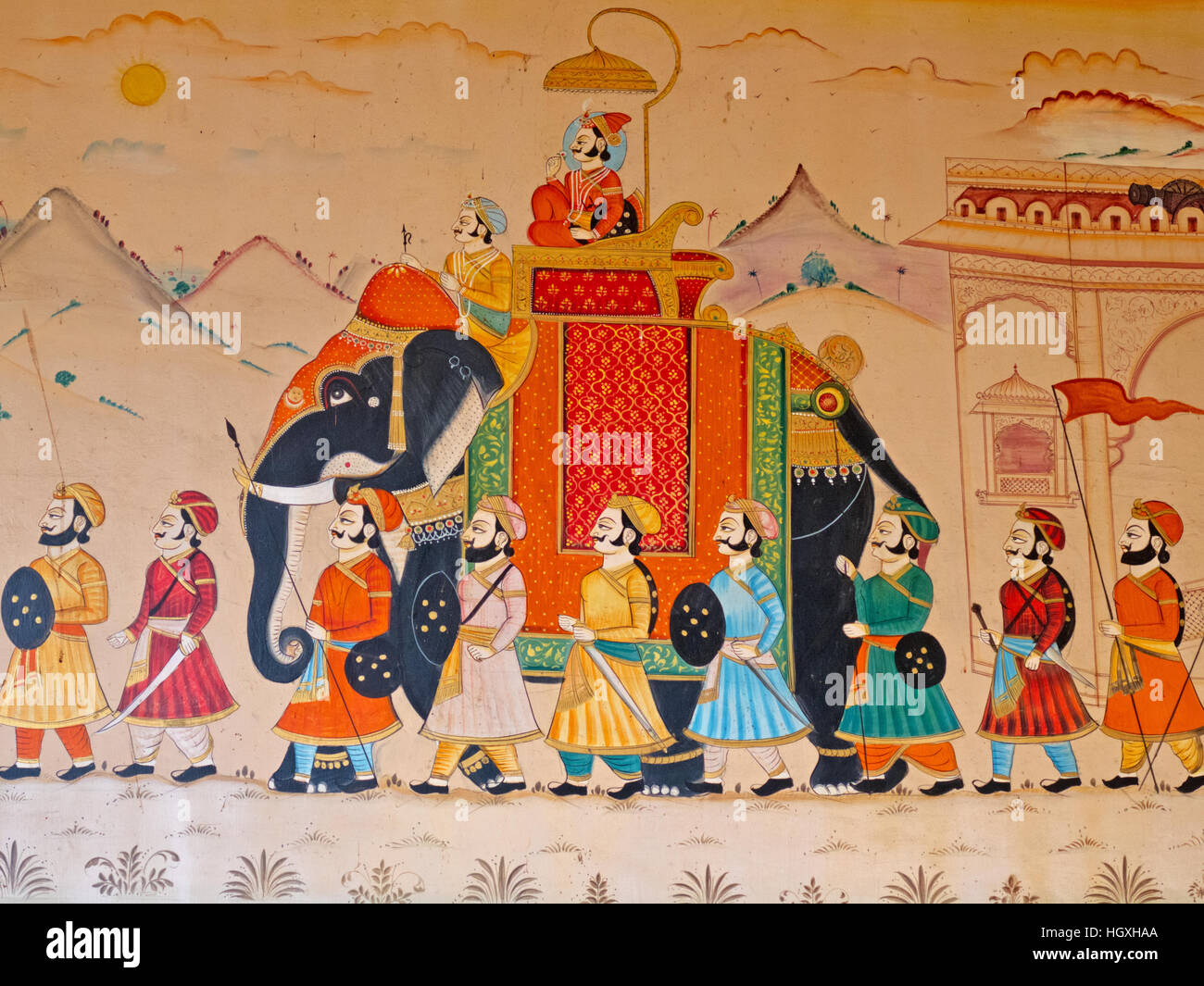 Wall art in Gujarat displaying the characteristic level of