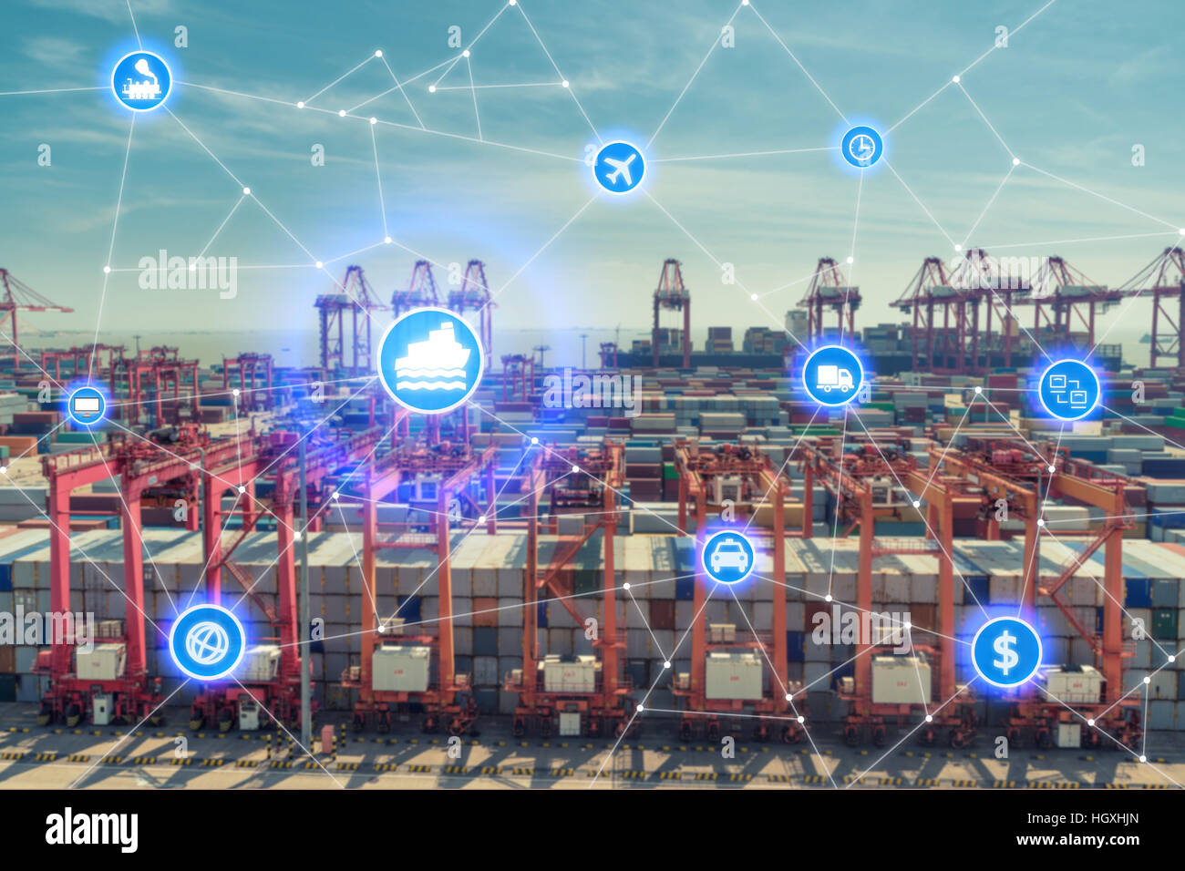 Global business connection technology interface global partner connection of Container Cargo freight ship for logistic - Stock Image