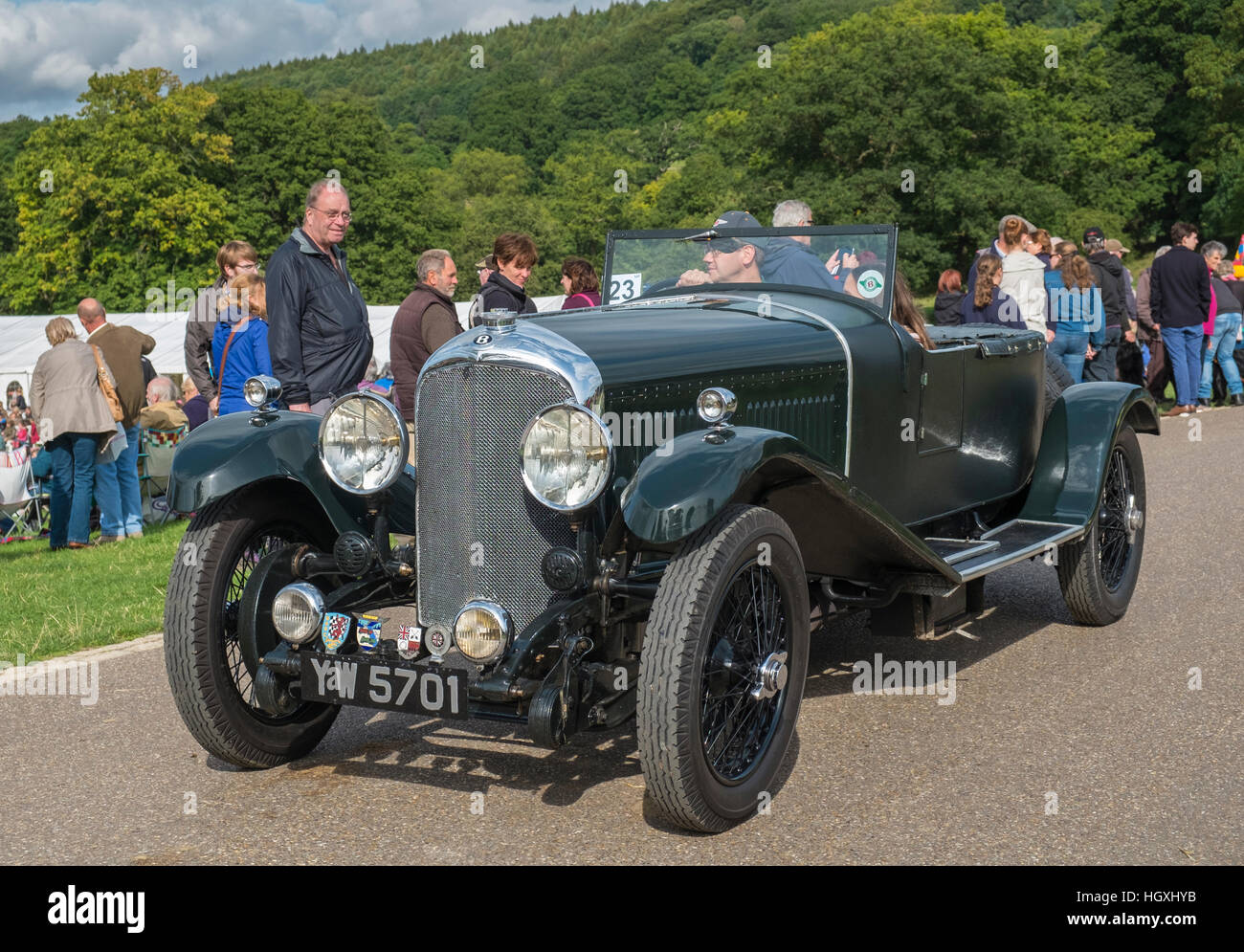 1928 Classic 2 Seater Open Top Bentley Car Being Admired By Visitors At A  UK Country