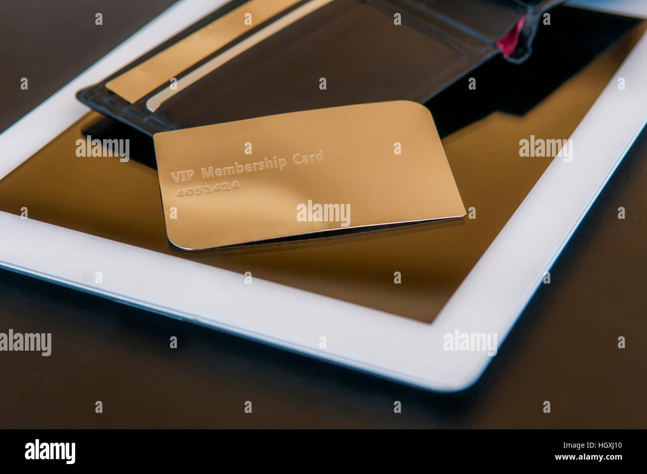 golden vip card on pad - Stock Image