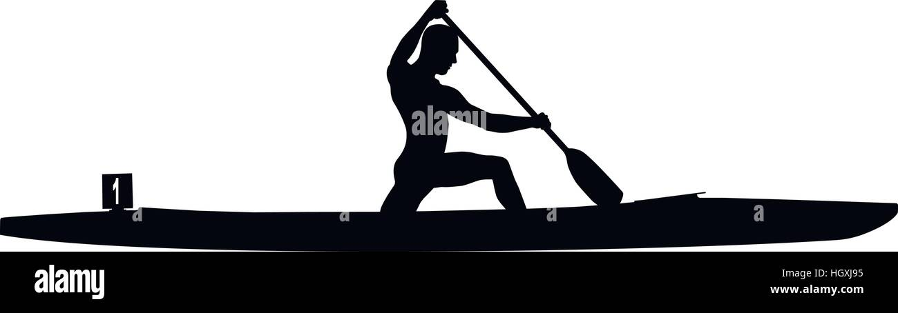 Black Silhouette Canoeing Athletes Sports Canoe With Paddle In Competition