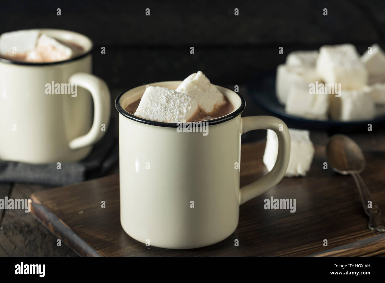 Warm Hot Chocolate with Square Marshmallows in a Mug - Stock Image