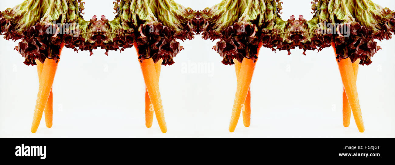 Style your plate - Carrot legs with salad leaves skirts - Stock Image