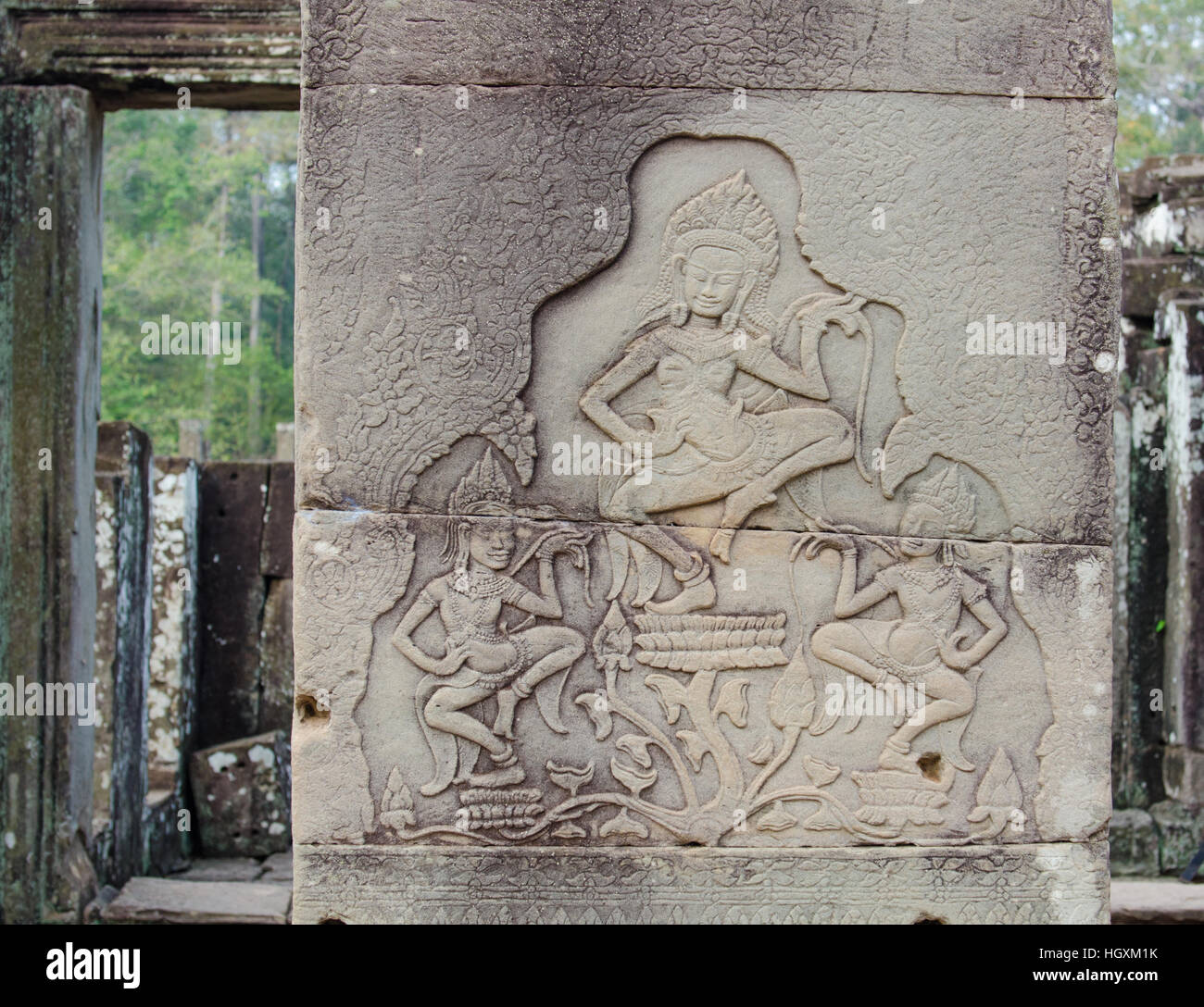 engravings on the walls of the temples of Indochina Cambodia - Stock Image