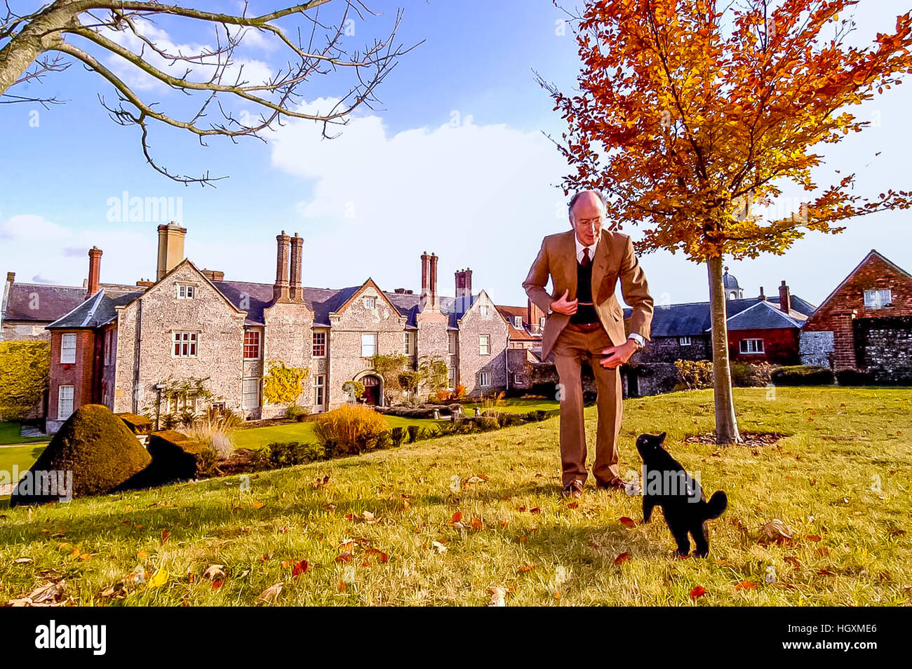 Lord Hampden, on his estate at Glynde Place, near Lewes, East Sussex. Stock Photo