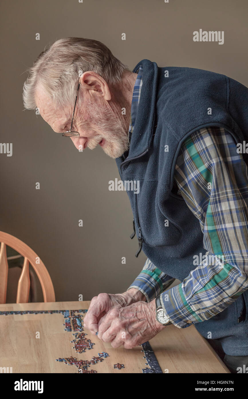 An elderly, bearded man (age 93) wearing eyeglasses and a hearing aid works on a jigsaw puzzle in natural afternoon - Stock Image
