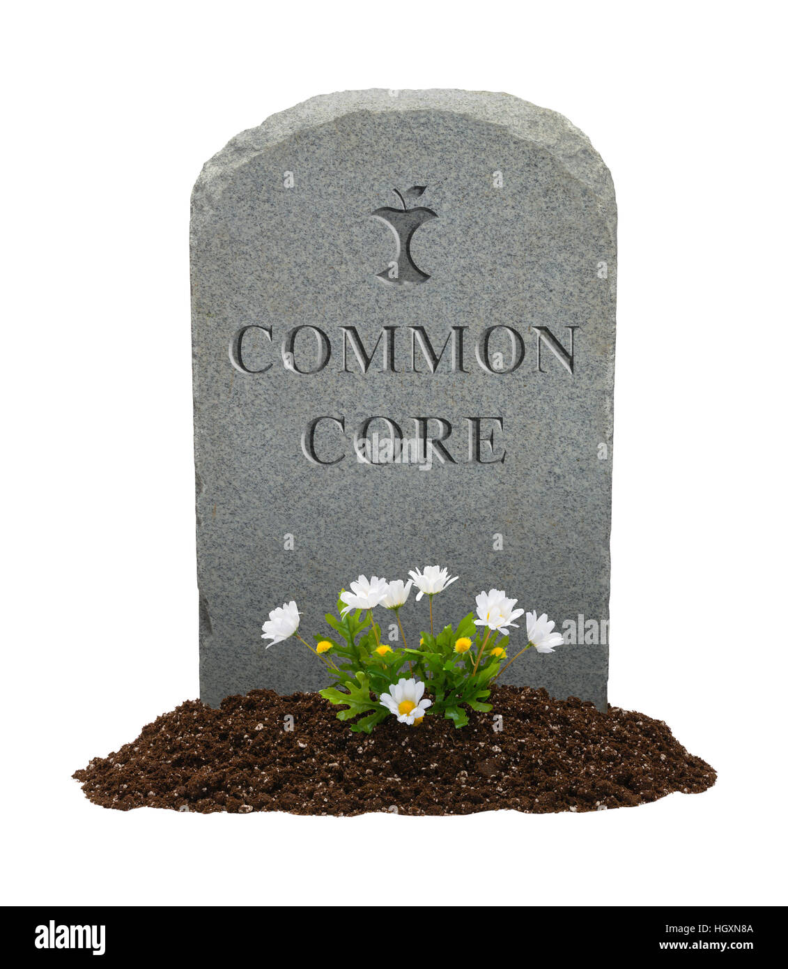 Gravestone with Common Core on it Isolated on White Background. - Stock Image