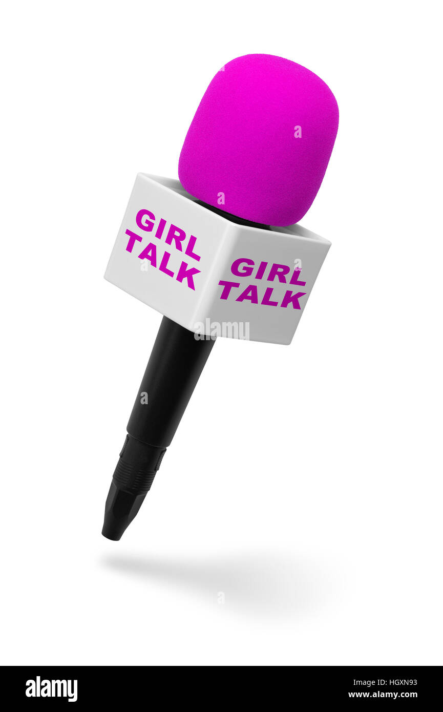 Pink and Black Microphone with Girl Talk Isolated on White Background. - Stock Image