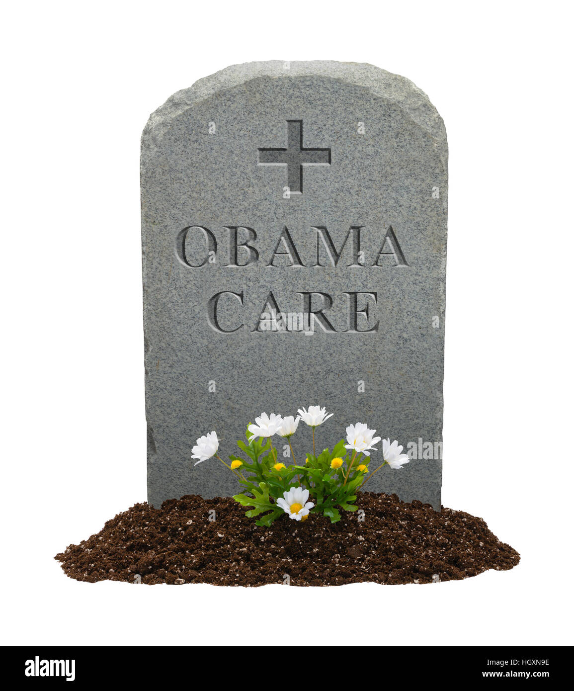 Gravestone with Obamacare on it Isolated on White Background. - Stock Image
