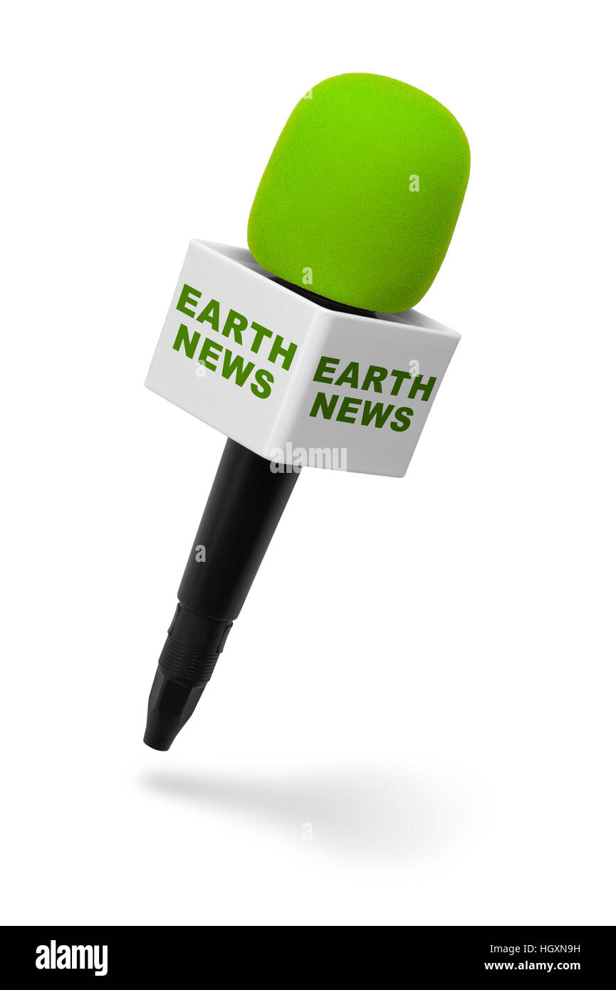 Green and Black Microphone with Earth News Isolated on White Background. - Stock Image