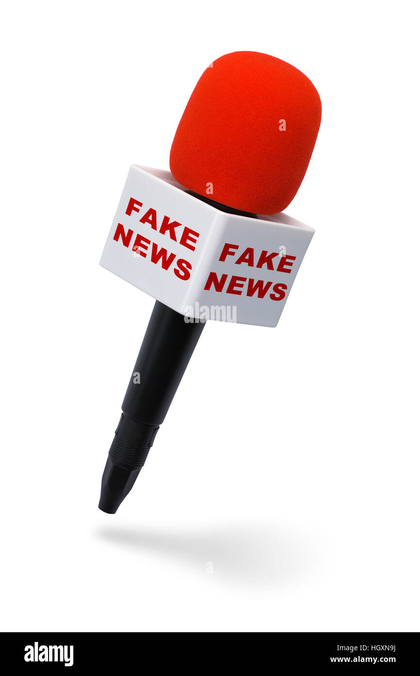 Red and Black Microphone with Fake News Isolated on White Background. - Stock Image